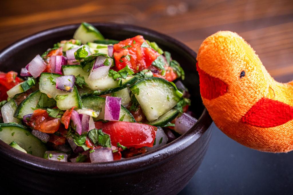 Shrimpy posing next to a bowl of cucumber tomato salad