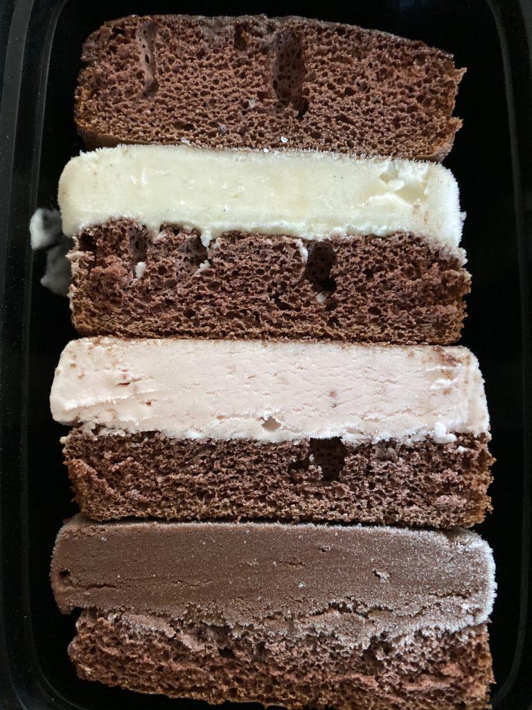 Neapolitan ice cream sandwich