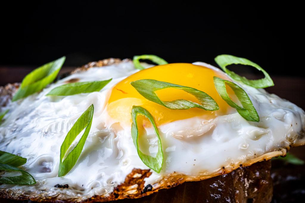 loco moco closeup on the fried egg