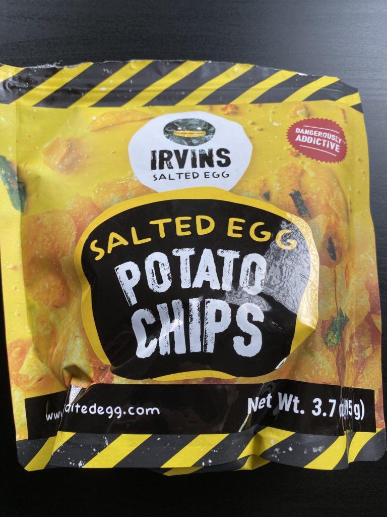 a bag of Irvin's salted egg potato chips