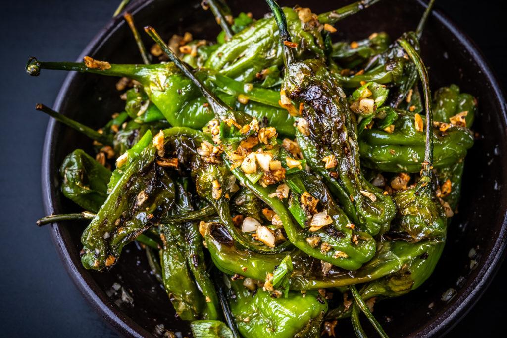 garlicky shishito peppers