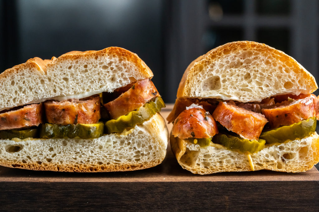 sausage sandwiches made with both breads