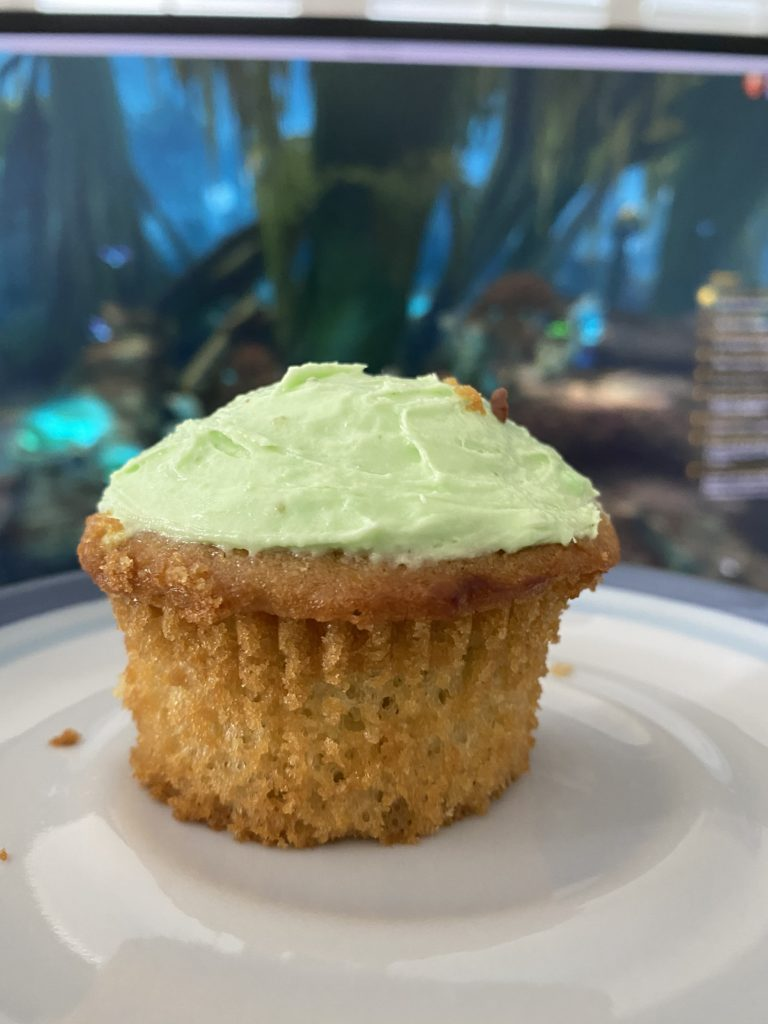 a pistachio cupcake on a plate, held up in front of my monitor