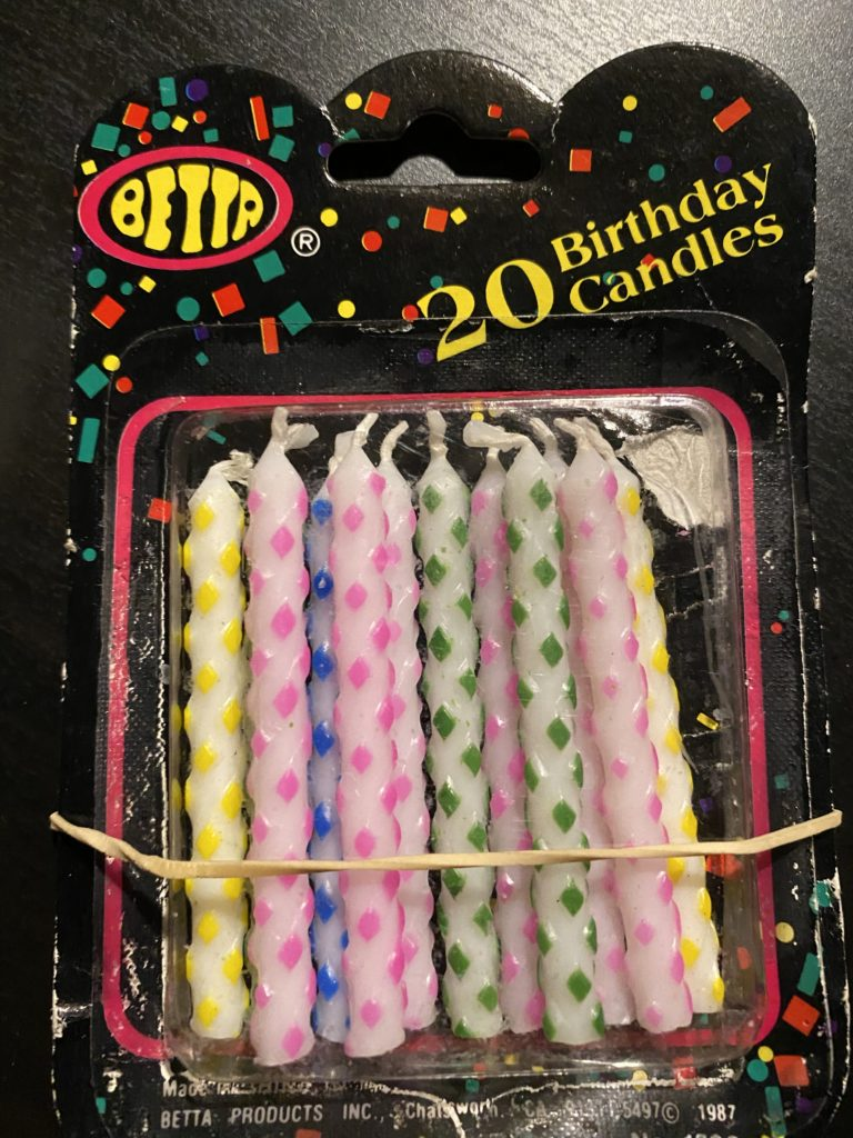 a box of birthday candles from 1987